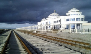 Railway station in Bereket city, Turkmenistan.