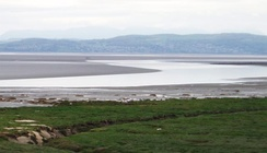 Morecambe Bay at low tide from Hest Bank, looking towards Grange-over-Sands