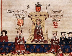 King Alexander III of Scotland on the left with Llywelyn, Prince of Wales on the right as guests to King Edward I of England at the sitting of an English parliament.