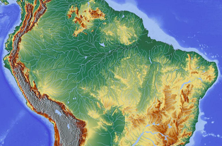 Topography of the Amazon River Basin