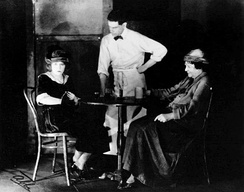 Pauline Lord as Anna Christopherson, James T. Mack as Johnny-the-Priest, and Eugenie Blair as Marthy Owen in the original Broadway production of Anna Christie (1921)