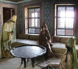 Reconstructed scene of a Valide Sultan and her attendants in her apartments at Topkapı Palace.