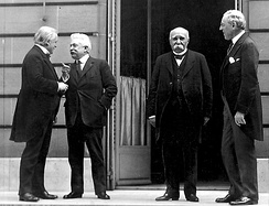 """The Big Four"" made all the major decisions at the Paris Peace Conference (from left to right, David Lloyd George of Britain, Vittorio Emanuele Orlando of Italy, Georges Clemenceau of France, and Woodrow Wilson of the United States)."