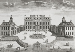 Buckingham House, c. 1710, was designed by William Winde for the 1st Duke of Buckingham and Normanby. This façade evolved into today's Grand Entrance on the west (inner) side of the quadrangle, with the Green Drawing Room above it.