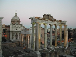 Temple of Saturn, Roman Forum, 8 impressive columns and architrave remain standing