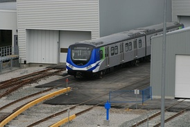 A Canada Line train in Vancouver, British Columbia, Canada