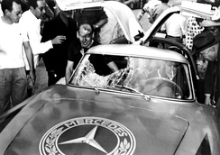 Mercedes-Benz 300SL sports car following the impact of a vulture to the windscreen at the 1952 Carrera Panamericana