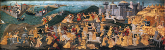 "Cassone with the ""Conquest of Trebizond"" by Apollonio di Giovanni di Tommaso, on display at the Metropolitan Museum of Art in New York, painted just after the fall of the city"
