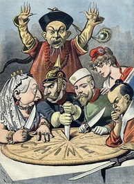 A French political propaganda cartoon depicting China as a pie about to be carved up by Queen Victoria (Britain), Kaiser Wilhelm II (Germany), Tsar Nicholas II (Russia), Marianne (France) and a samurai (Japan), while a Chinese mandarin helplessly looks on.
