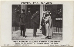 Despard and Anne Cobden-Sanderson outside No. 10 Downing St prior to being arrested on 19 August 1909