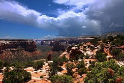 The Colorado National Monument near Grand Junction. The monument is made up of high desert canyons and sandstone rock formations.