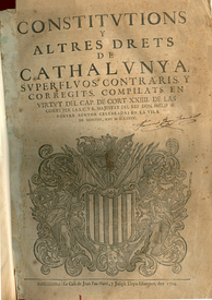 Third volume of the compilation of Catalan Constitutions of 1585