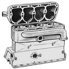 Typical 1930-1960 flathead engine with integrated crankcase (the cylinder head is tipped upwards for illustrative purposes)