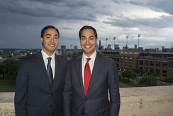 Representative Joaquin Castro (left) and his twin brother, then-San Antonio Mayor Julián Castro (right), at the LBJ Presidential Library.