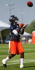 Devin Hester returns a punt during training camp.