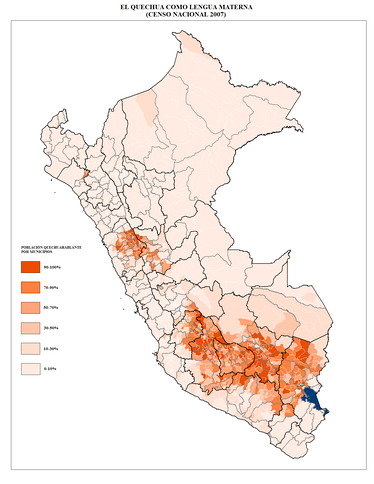 Map of Peru showing the distribution of overall Quechua speakers by district
