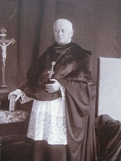 Benedictine Archabbot Schober in prelate's dress and cappa magna