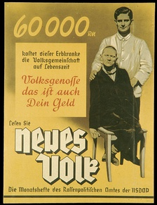 "This poster (from around 1938) reads: ""60,000 Reichsmark is what this person suffering from a hereditary defect costs the People's community during his lifetime. Fellow citizen, that is your money too. Read '[A] New People', the monthly magazine of the Bureau for Race Politics of the NSDAP."""