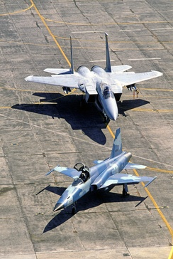 RTAF F-5 and USAF F-15 in the background