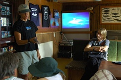 A wildlife advocate during an education session on board RV Farley Mowat