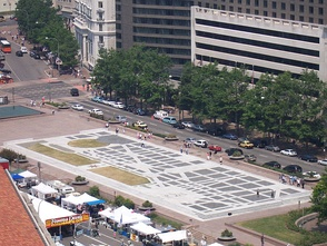 Inlay of L'Enfant Plan in Freedom Plaza, looking northwest in 2006 from observation deck in Old Post Office Building Clock Tower