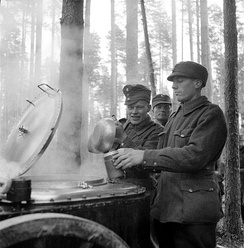 During additional refresher training, a Finnish soldier is having his breakfast served into a mess kit by another soldier from a steaming field kitchen in the forests of the Karelian Isthmus. More soldiers, two of them visible, are waiting in line for their turn behind him. It is early October and the snow has not set in yet.