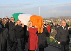 The funeral procession of McGuinness. Coffin bearers include Gerry Adams, Michelle O'Neill and Mary Lou McDonald