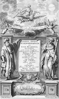 Al-Haytham seen by the West: frontispice of Selenographia, showing Alhasen  [sic] representing knowledge through reason, and Galileo representing knowledge through the senses.