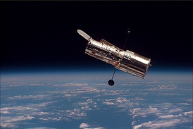 The Hubble Space Telescope as seen from Discovery during its second servicing mission