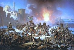 Ottoman troops attempt to halt advancing Russians during the Siege of Ochakov in 1788.