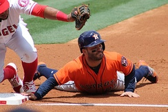Houston Astros player José Altuve is tagged out on a pickoff play at first base during a 2017 game