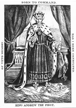 "A man wearing a crown and thick robe holding a scepter stands over a pile of papers, one of which is marked as the ""Constitution of the United States"""