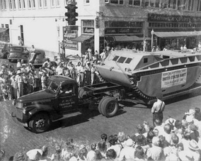 LVT-1 exhibited by manufacturer (FMC) in 1941 parade, Lakeland, Florida
