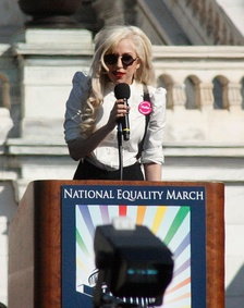 Pop star Lady Gaga, an openly bisexual gay icon and LGBT activist, delivering a speech at the 2009 National Equality March