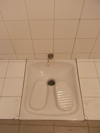 Example of a squat toilet in Rome, Italy