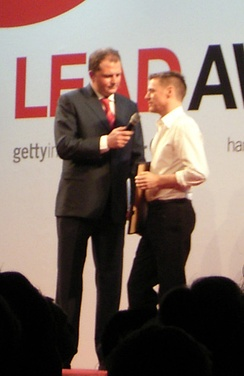 Adams accepting a Lead Award for photography in 2006