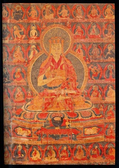A thangka depicting the lineage lamas of the Aural Tradition of Zhangzhung.