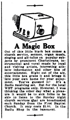 Little-Long Company advertisement for a crystal radio receiver capable of picking up WBT's programs (October 1922)