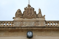 The British coat of arms on the Main Guard building in Valletta.