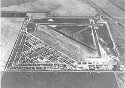 Oblique aerial photo of March Field in May 1940, just before World War II, looking north to south.
