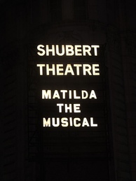 Matilda the Musical marquee at the Shubert Theatre