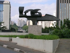 A monument dedicated to Senna's Formula 1 racing, located at the entrance of the tunnel under Ibirapuera Park in São Paulo, Brazil.