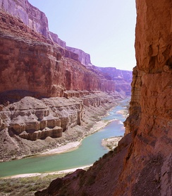 The bottom of the Grand Canyon of the Colorado River in Arizona