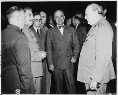 Churchill at the Potsdam Conference, July 1945.