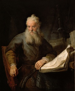 "Painting by Rembrandt of Paul, one of the most notable of early Christian missionaries, who called himself the ""Apostle to the Gentiles."" Paul, a Hellenistic Jew, was very influential on the shift of Christianity to Gentile dominated movement."