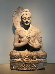 The Seated Buddha, dating from 300 to 500 AD, was found near Jamal Garhi, and is now on display at the Asian Art Museum in San Francisco.