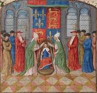 A mid-15th-century depiction from the Bibliothèque Nationale de France showing Henry being crowned King of France at Notre-Dame de Paris on 16 December 1431