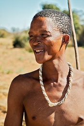 A San man from Namibia. Many San still live as hunter-gatherers.