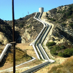 The Second Los Angeles Aqueduct Cascades near Sylmar, Los Angeles