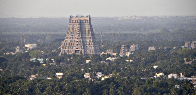 Sri Ranganathaswamy Temple is a Hindu temple dedicated to Vishnu located in Srirangam, Tiruchirapalli, Tamil Nadu, India. The temple occupies an area of 156 acres (630,000 m2) with a perimeter of 4,116 m (13,504 ft) making it the largest temple in India and one of the largest religious complexes in the world.[165]
